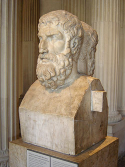Bust of Epicurus leaning against his disciple Metrodorus in the Louvre Museum